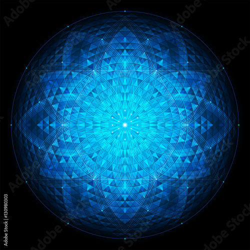 Fotografie, Obraz  complex deep blue geometric mandala on black background, sacred geometry, flower