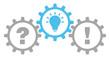 Gears Question, Idea & Answer Grey/Blue Outline
