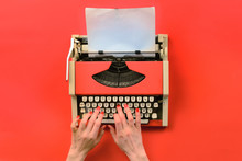 Red Vintage Typewriter With Wh...
