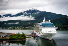 Cruise Ship At Port In Juneau,...