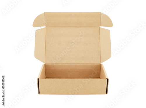 Fényképezés carton box open empty isolated on white background, for postal delivery