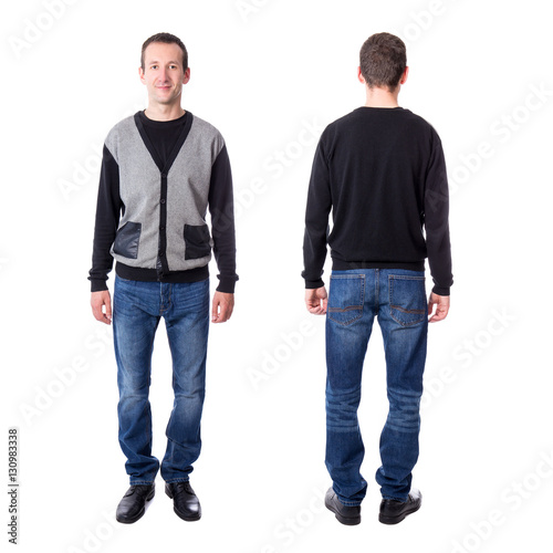Fényképezés  front and back view of middle aged man isolated on white