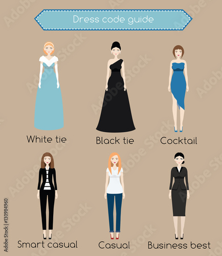 8078c22680 Woman dress code infographic. From white tie to business casual. Females in  different types of dress and clothes