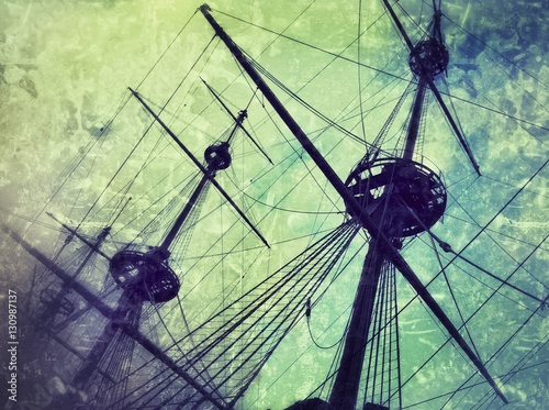 Keuken foto achterwand Schip Old vintage pirates galleon retro stylized photography.