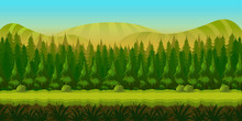 Seamless Fantasy Landscape, Game Background With Separated Layers For Parallax Effect