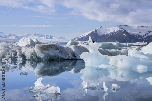 Poster Antarctic The Jokulsarlon glacier lagoon in Iceland during a bright summer night