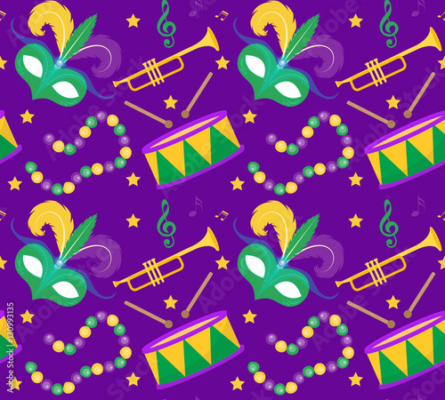 Cotton fabric Mardi Gras Carnival seamless pattern with mask feathers, beads. Mardi Gras endless background, texture, wallpaper. Vector illustration