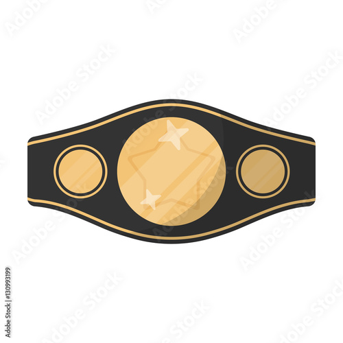 Fotografía  Boxing championship belt icon in cartoon style isolated on white background