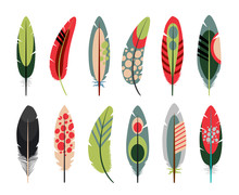 Colorful Flat Feathers Icons O...