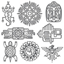 Ancient Mexican Vector Mythology Symbols. American Aztec, Mayan Culture Native Totem Patterns