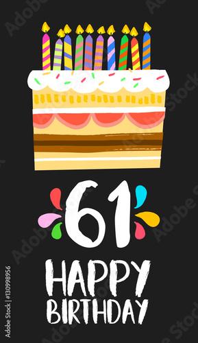 Fotografia  Happy Birthday card 61 sixty one year cake