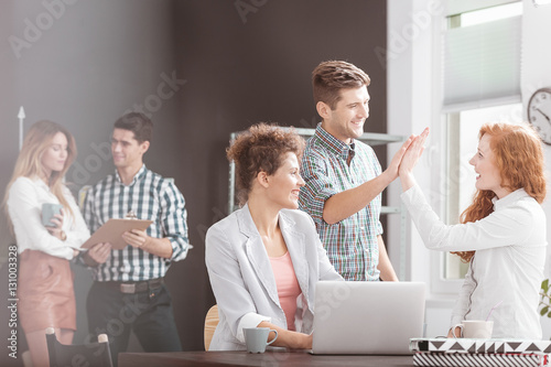 People working in positive environment Canvas Print