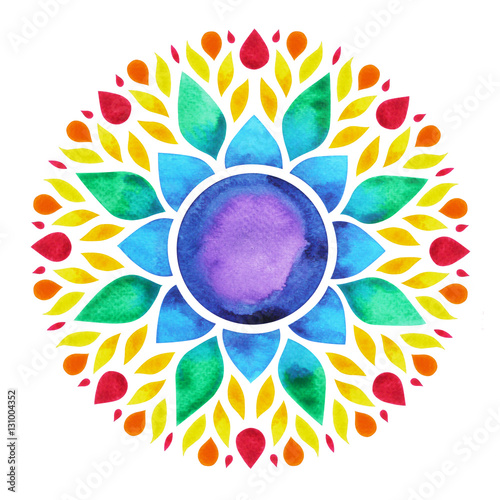 Photo  7 color of chakra sign symbol, colorful lotus flower icon, watercolor painting
