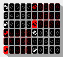 Poker Card. Set Sixty Black. White Background.