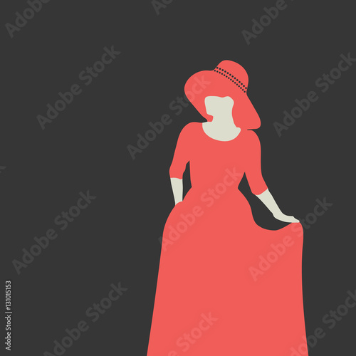 719dc1807 Silhouette of a beautiful lady. The woman dressed in an elegant red dress.  On her head a large hat. With one hand woman lifts her skirt. Dark  background