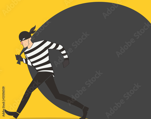 Fotografía thief in a mask character vector bandit cartoon illustration with robber bag bac