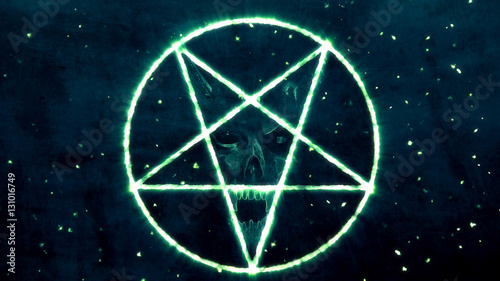 Photo  Inverted Pentagram Symbol with the Face of the Evil