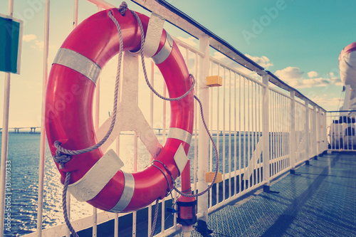 Lifebuoy on upper deck of cruise liner