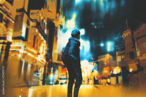young woman standing in night city,illustration painting