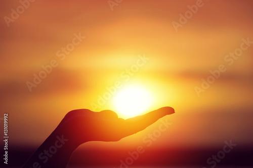 Sun on female hand