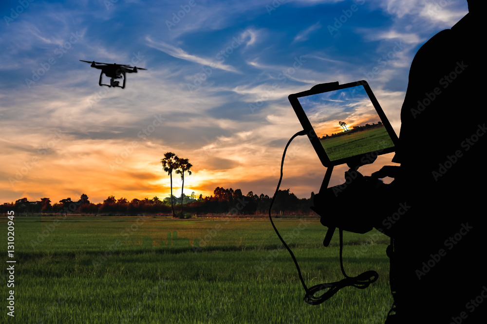 Fototapety, obrazy: Silhouette of Man using drone to monitor the agricultural field at the evening,