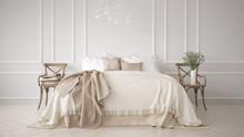 Minimalistic Classic Bedroom, White Interior Design