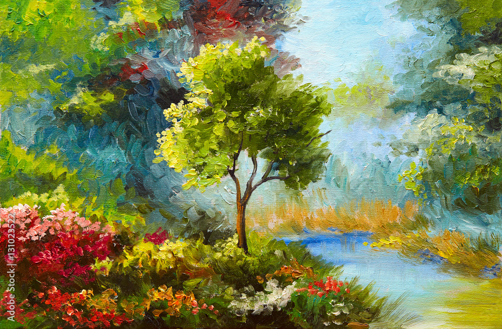 Fototapety, obrazy: Obraz olejny, kwiaty i drzewa w pobliżu rzeki, zachód słońca