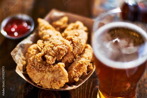 Fototapeta beer and fried chicken tenders obraz