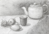 still life of teapot, cup, fruits drawn by pencil - 131031352