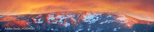 Stickers pour porte Orange eclat frosty sunrise in the Carpathian mountains