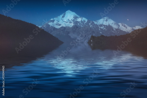 Foto auf Gartenposter Reflexion Titnuldi reflected in a alpine lake