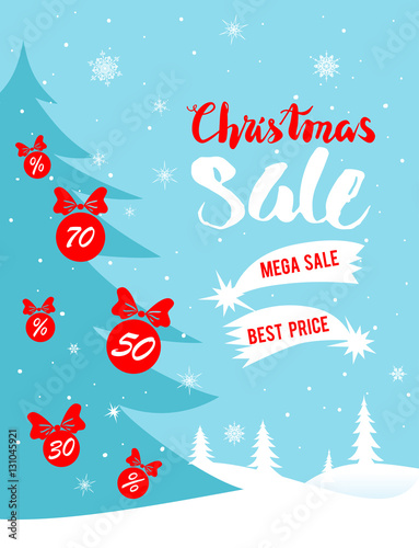 Fototapety, obrazy: Christmas winter sale poster