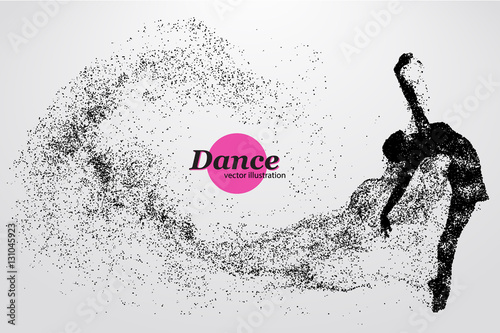Silhouette of a dancing girl from particle. Dancer woman. Wallpaper Mural