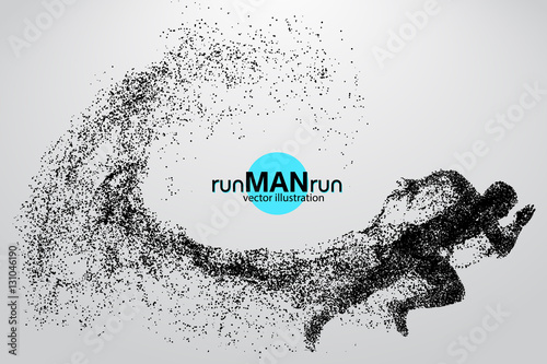 Fotografía  Silhouette of a running man from particles.
