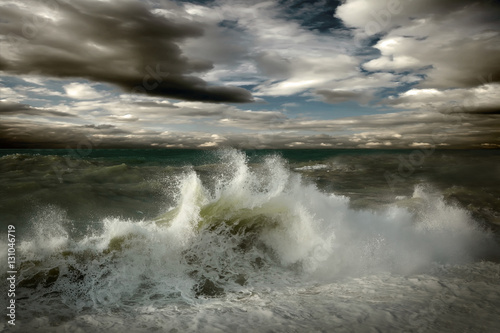 Poster Onweer View of storm seascape