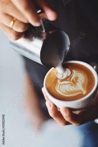 coffee latte art in coffee shop Wallpaper Mural