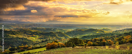 Poster Chocoladebruin Maremma panorama. Countryside, hills and sea on horizon. Italy