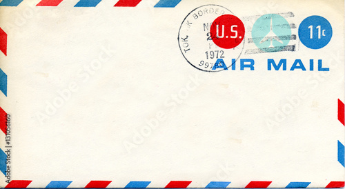 Canvas Print Retro old US Air Mail Envelope cancelled 11 cents 1972