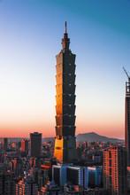 Taipei Cityscape At Sun Set.