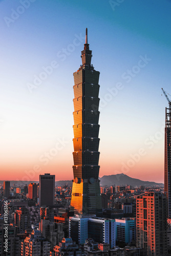 Photo Taipei cityscape at sun set.
