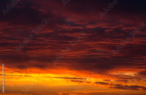 Scenic orange sunset sky background