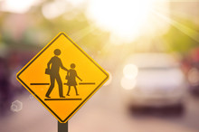 School Zone Warning Sign On Bl...
