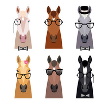 Vector Hipster Horse Head In G...