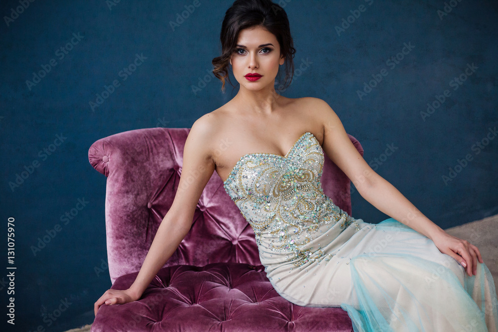 Fototapety, obrazy: Fashion photo of beautiful lady in elegant evening dress