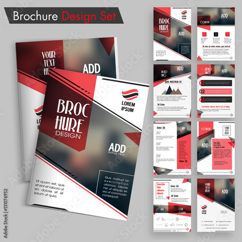 Fotografie, Obraz  Creative brochure design set, Professional template layout with space for image and text, Business flyers with cover, inner and back pages presentation