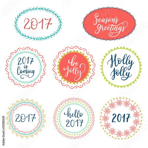 Seasons greetings hello 2017 be jolly hand lettering on speech seasons greetings hello 2017 be jolly hand lettering on speech bubble background vector m4hsunfo