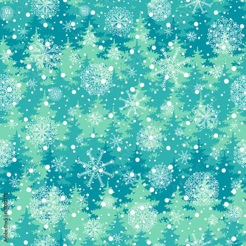 Stoffe zum Nähen Winterurlaub Musterdesign mit Bäumen, Schneeflocken. Vektor fallenden Schnee auf dem grünen Hintergrund für die Weihnachtskarte.