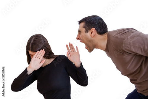 Photo Domestic violence scene with a abusing husband or boyfriend shouting and yelling