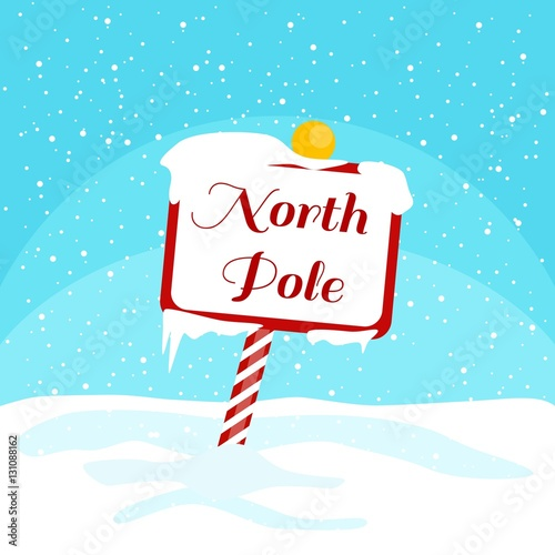 Fotografia Vector Christmas illustration with a North Pole sign with snow
