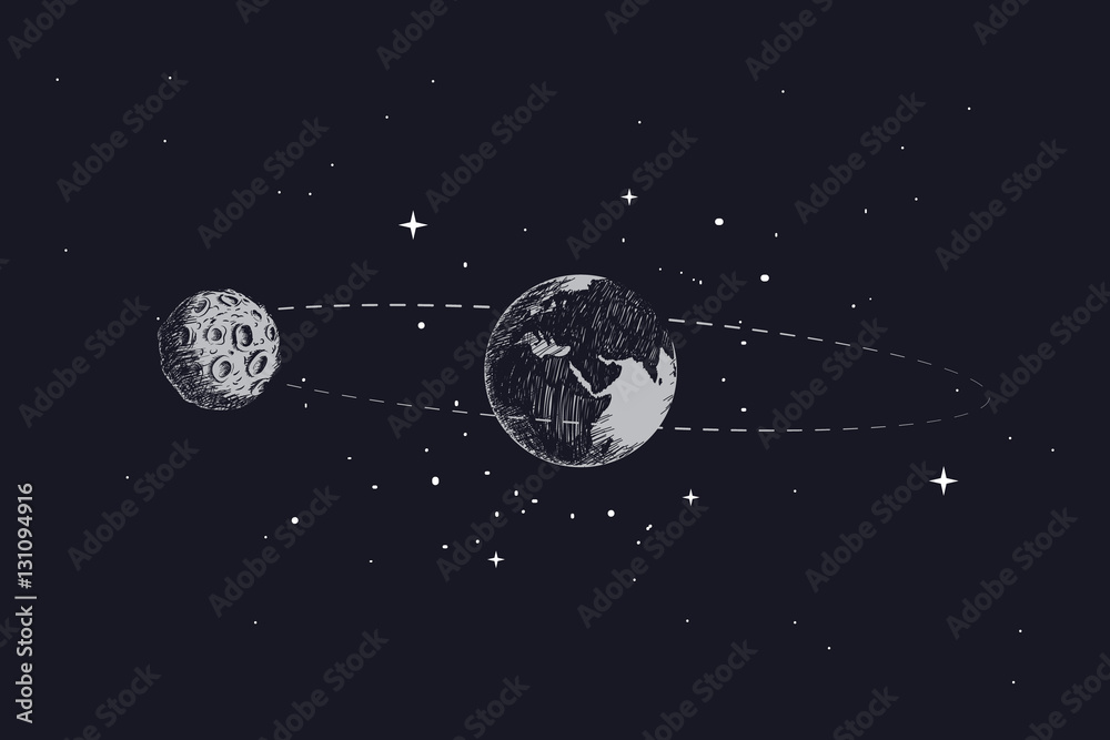 Fototapety, obrazy: moon orbits the planet earth in its orbit